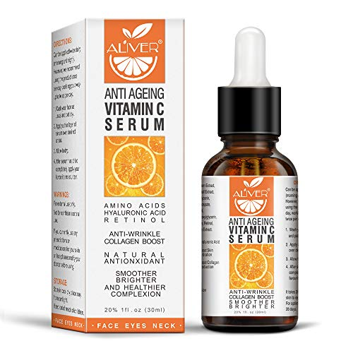 Vitamin C Serum for Face with Hyaluronic Acid, Day and Night Vitamin C Serum Organic, Boost Skin Collagen, Brighten Hydrate & Plump Skin, Anti Aging & Wrinkle Facial Serum