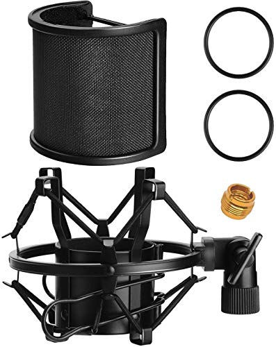 AT2020 Microphone Shock Mount with Pop Filter, PEMOTech Universal Shock Mount for 46mm-53mm Diameter Mic compatible for AT2020 Anti-Vibration Suspension Microphone Shock Mount Bonus Screw Adapter