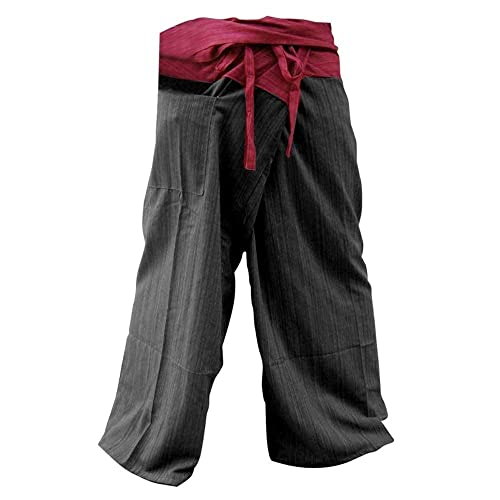 81b1d199fd2 Memitr 2 Tone Thai Fisherman Warp Pants Men Yoga Harem Cotton Red and Gray  Free Size
