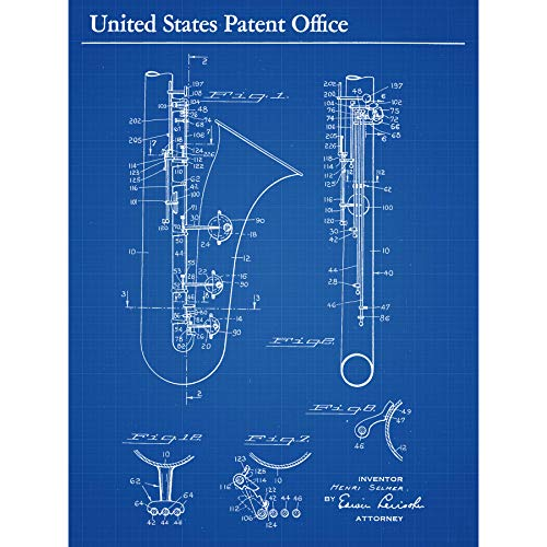 Selmer Saxofoon Muziek 1937 Patent Plan Omlijst Muur Kunst Print 18X24 In