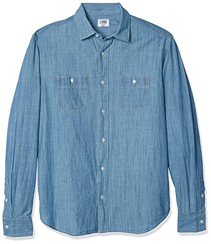 LOOK by crewcuts Jungen Chambray-Hemd, Langarm, Light Wash Blue, XL