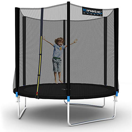 Kinetic Sports Outdoor Gartentrampolin Ø 250 cm, TPLH08, Komplettset inklusive Sprungtuch aus USA PP-Mesh +Sicherheitsnetz +Randabdeckung, bis 120kg, GS-geprüft,UV-beständig, SCHWARZ