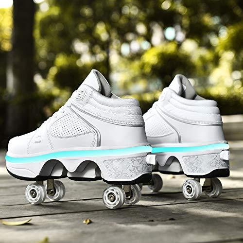 JTKDL Zapatillas con Ruedas, LED Deformación 4 Rueda Patines En Paralelo Zapatos Multiusos 2 En 1 Skate Ligeros Calzado para Niñas Y Niños para Niños Adolescentes Y Adultos,Sliver-EU33/UK1