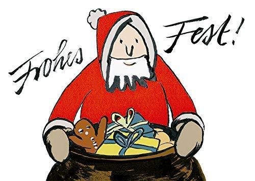 Weihnachtskarte Weihnachtsmann Sack mit Daumenkino-Effekt