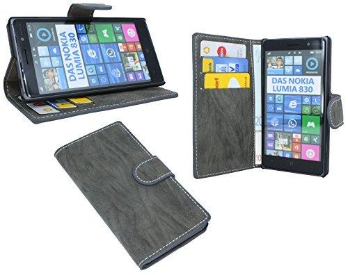 ENERGMiX Elegante Buch-Tasche kompatibel mit Nokia Lumia 830 in Anthrazit Wallet Book-Style