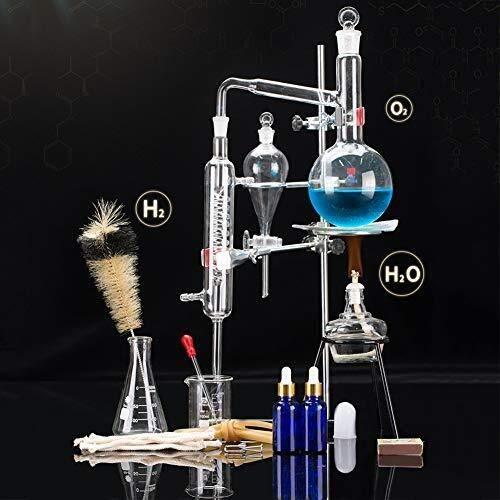 Sucastle 500 ML Esencial Lab Aceite Destilación de Alcohol Aparato Destilador Química cristalería de Laboratorio Kit, Vaso de destilación, destilación Aparato