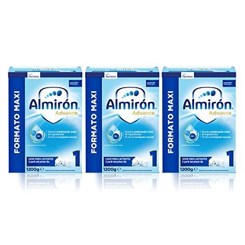 Almirón Advance 1 , Leche en polvo para Bebé, a partir del Primer Día, Pack de 3x1.2kg