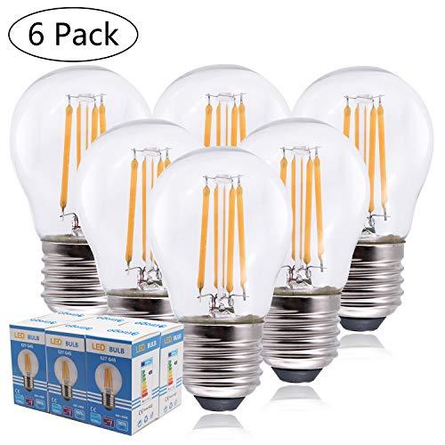 Etrogo Bombillas Filamento LED E27 G45, 4W equivalente a 40W, 470 lúmenes, Luces Blanco Cálido 2700K, No Regulable-6 Unidades