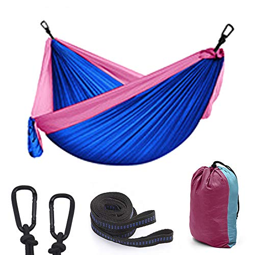 Blue Series Hammock Camping, Lightweight Portable Hammocks for Outdoor Hiking Travel Backpacking Beach Yard- Strongest Parachute Nylon Hammock Swing - Support 400lbs Ropes Carabineers,B