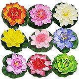 9 Pcs Lotus Espuma Flor Loto Flotante Flor de Lirio Lirio de Agua de Simulación Lirio de Agua Artificial Flotante Plantas Flotantes Lirio de Agua Loto Flotante de Plástico para Estanque Acuarios