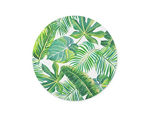 ABin Shuangyi -Green Palm Leaves on The White Background Round Mouse pad Customized Non Slip Rubber Round Mouse pad Non Slip Rubber Mouse pad Gaming Mouse Pad