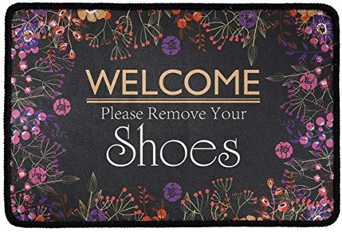 Bernice Winifred Felpudo con Respaldo de Goma Antideslizante Novedad Bienvenido Quítese los Zapatos Imprima Alfombras de área de bajo Perfil para jardín/Cocina/Dormitorio/Dormitorio Decorativo,