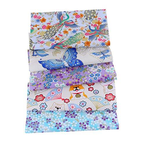 Deike Mild 5 Stück Patchwork Stoffe Baumwollstoff Set, Japanischer Stil Blumen Cartoon Tiere, Stoffreste Paket Stoffpaket, DIY Baumwolltuch-20 * 25 cm (#18)