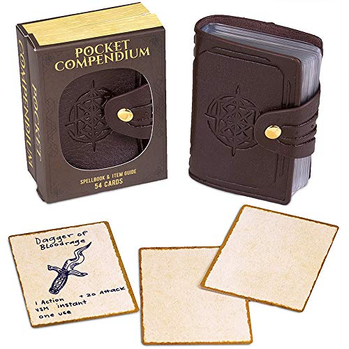 Pocket Compendium: Tome of Recollection | Customizable RPG Item, Spellbook, & Reference Card Holder | Tabletop Fantasy Game Beginner Accessory | Includes 54 Custom Poker-Size Player Cards