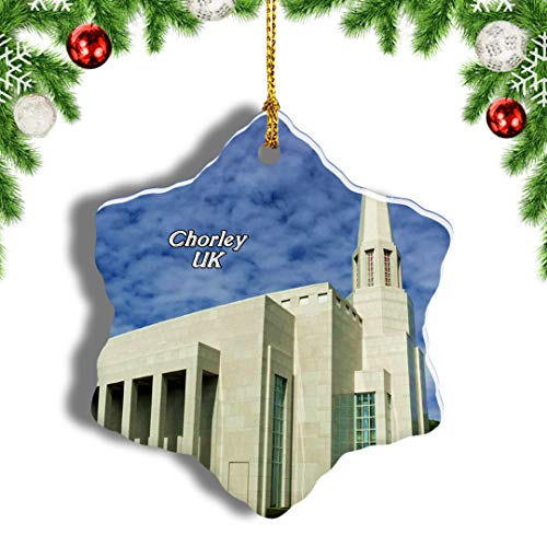 Weekino UK England Preston England LDS Mormon Temple Chorley Christmas Ornament Travel Souvenir Tree Hanging Pendant Decoration Porcelain 490' Double Sided