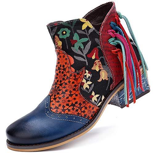 dell'Annata della Boemia Caviglia Stivali Donna Stivali di Cuoio Genuini Retro Stampato Zip di Scarpe delle Signore,Blu,37