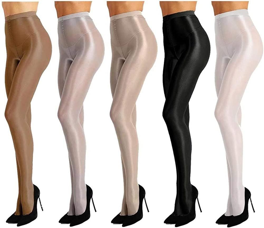 leesuo Women's Sexy Lingerie Control Top Nylon Sheer Shaping Stockings Pantyhose Shimmery Dance Tights