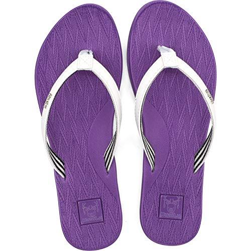 KuaiLu Chanclas Mujer Comodas Piel Verano Playa Piscina Ultraligera Sandalias de Dedo Planas Moda Caminar Antideslizante Yoga-Espuma Zapatillas Morado 36