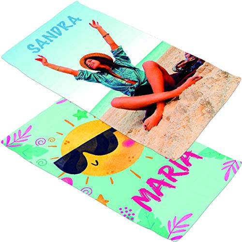 Toallas de Playa o Ducha Personalizadas con Fotos, Dibujos, Nombre, Frases, Patrones repetidos...Toalla de 1,60 x 80, cumpleaños, Aniversarios, San Valentín, día del Padre, día de la Madre...