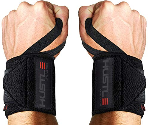 """Hustle Athletics Wrist Wraps Weightlifting - Best Support for Gym & Crossfit - Brace Your Wrists to Push Heavier, Avoid Injury & Improve Your Workout Instantly - for Men & Women (Stealth, 18"""")"""