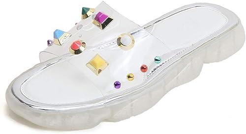 Sandales, Nouvelles Pantoufles pour Femmes avec Rivets, Mode, Sandales et et et Pantoufles Tout-Aller pour femmes-blanc-38 eb3