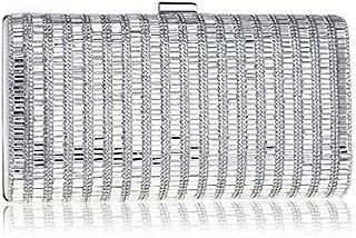 Ladies Girls Silver Sparkly Diamante Crystal Satin Clutch Bag Evening Wedding Handbag Purse Bag (Color : Silver)
