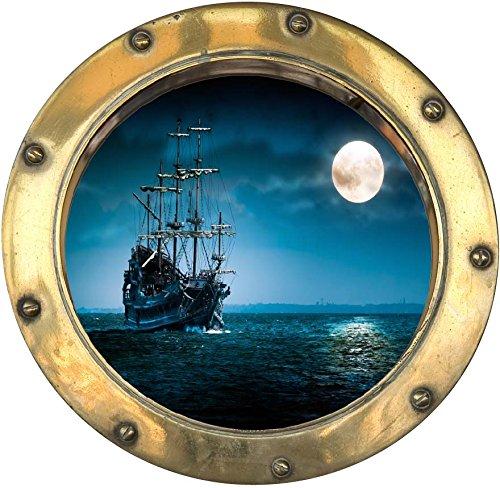 PPA DESIGN SATOHU023 - Sticker Trompe l'oeil Hublot Bateau Lune (30x30cm)