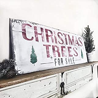 MaxwellYule Inpired by Joanna Gaines Christmas Trees for Sale Sign Vintage Christmas Sign Christmas Trees for Sale Sign authentically Aged Appearance