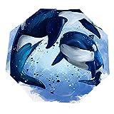 Paraguas anti-UV para sol/lluvia,Alfombra de entrada Orca Animal Arte acuático Dibujos animados Acuarela Mar Fauna Paraguas de viaje a prueba de viento: compacto, automático.