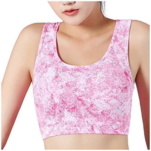 GATIK Damen Sportweste U-Ausschnitt Tie Dye Print Kurzarm Tops Freizeit Sportswear Mädchen Gepolsterter Push Up BH Yoga Box BH (S, Heißes Rosa)