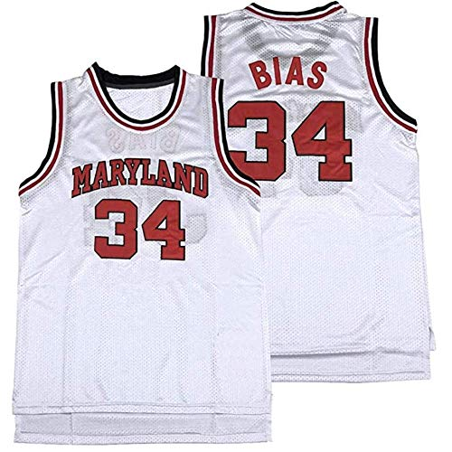 Men Len Bias 34 High School Stitched Basketball Jersey White