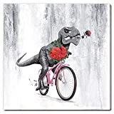 amatop Dinosaur Wall Art for Bedroom Decor Canvas Print Animal Painting Dinosaur Show Love Pictures Funny Gift Poster Stretched and Framed 12'X12'