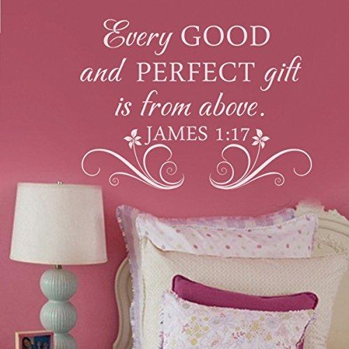 Autocollant mural humoristique en vinyle avec inscription « Every Good and Perfect Gift » pour chambre d'enfant Blanc Taille S