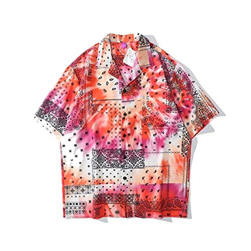 SZQM Mangas Cortas de Playa de Verano, Camisa Impresa Retro, Fibra de poliéster Suave y cómoda XXL