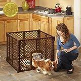 North States MyPet 7 Sq. Ft. Stages Indoor/Outdoor Petyard: 4-panel pet enclosure with lockable pet door. Freestanding (26' tall, Brown)