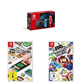 Nintendo Switch Konsole - Neon-Rot/Neon-Blau (2019 Edition) + 51 Worldwide Games [Nintendo Switch] + Super Mario Party - [Nintendo Switch]