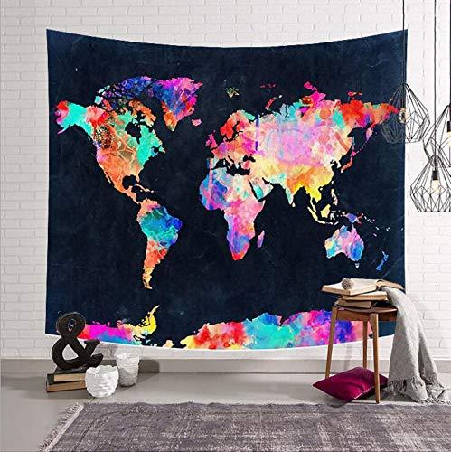 KHKJ Mapa del Mundo habitación Manta Colgante de Pared Tapiz Tienda de campaña colchón de Viaje Manta de Toalla de Playa Arte decoración del hogar A5 150x130cm