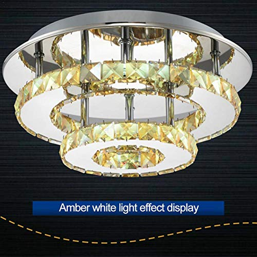 Ankishi Lámpara de Techo de Cristal Espejo de Acero Inoxidable LED 36W Lámpara de Cristal para Sala de Estar, Dormitorio, NoLeadorMercury.