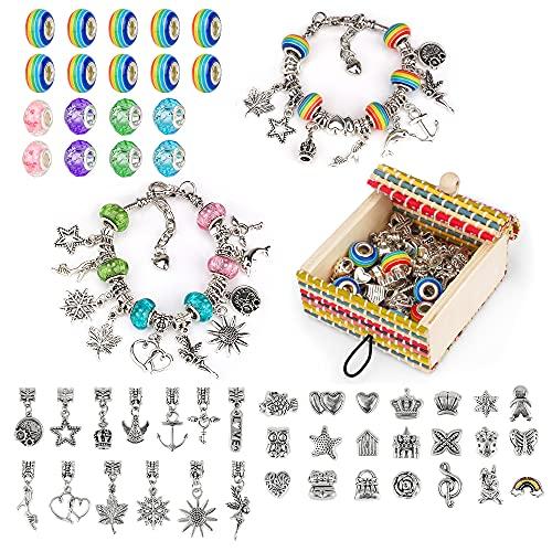 Little Guy DIY Colorido Cristal Cuentas Pulsera niñas Regalos Caja Conjunto Cadena de Hueso de Serpiente