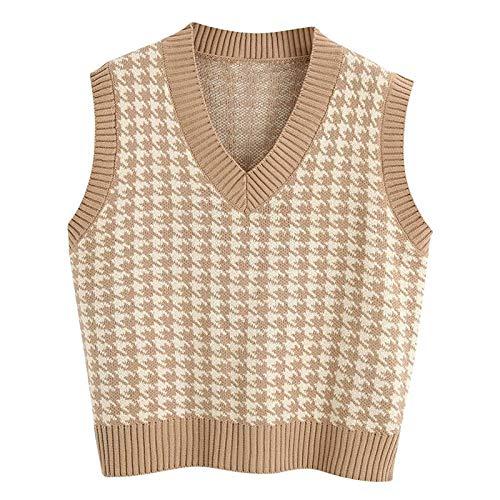 Pullover Damen Lingge V-Ausschnitt Strickpullover ärmellos Sweatshirt Pullunder Strickweste Warm Top Lässige Lose Tunika Bluse Shirt Oberteil Kleidung