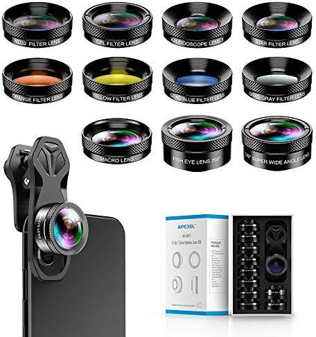 Apexel 11 in 1 Phone Camera Lens Kit Wide Angle Lens Macro Lens Fisheye Lens ND32 kaleidoscope product image