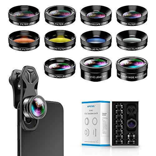 Apexel 11 in 1 - Kit obiettivo grandangolare e obiettivo macro+obiettivo fisheye, ND32, caleidoscopio, CPL, obiettivo a colori, compatibile con iPhone, Samsung Sony e la maggior parte degli smartphone