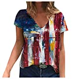 Sdoveb Womens Tops Patriotic Red White and Blue Striped Stars Printed T-Shirts V-Neck Casual Blouse Summer Short Sleeve Tunic Top (Red, XL)