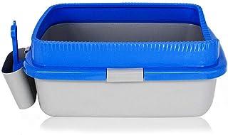 猫用トイレ本体 縁およびスコップが付いているプラスサイズの開いた猫のトイレ砂トレイ57 * 40 * 24 cm 適当な容量、快適に使える (色 : 青, サイズ : 24*40*57cm)