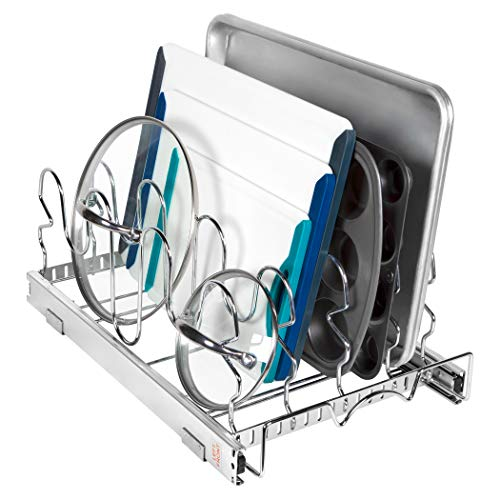 """Pull Out Pan and Lids Organizer Rack - Sliding Kitchen Lid Holder Cabinet Storage Rack for Pans Serving Dishes Cutting Boards Baking Pans and More 125 W x 21"""" D x 8 H Heavy Duty Chrome"""
