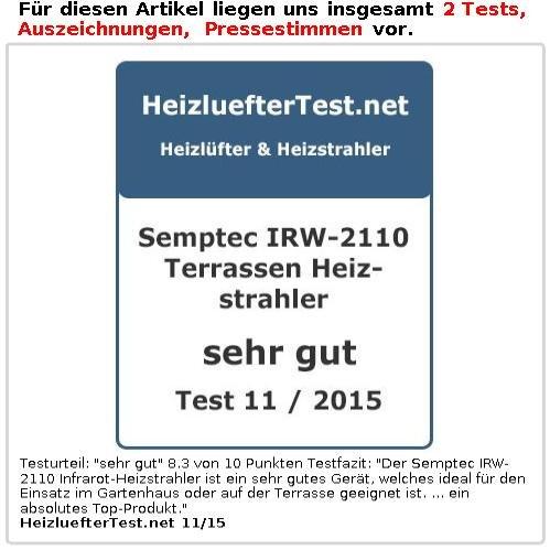 Semptec Heizpilz: IR-Außen-Heizstrahler für Deckenmontage IRW-2110, 2.100 Watt, IPX4 (Infrarot Heizer) - 4