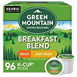 Green Mountain Coffee Roasters Breakfast Blend Decaf, Single-Serve Keurig K-Cup Pods, Light Roast Coffee Pods, 96 Count