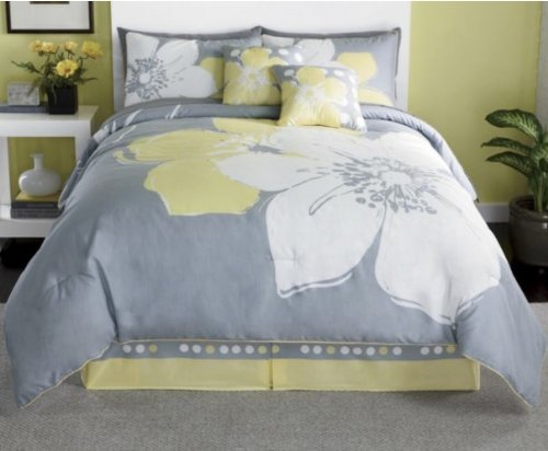 Yellow Gray Bed In A Bag : Richadee pieces marisol yellow grey white comforter