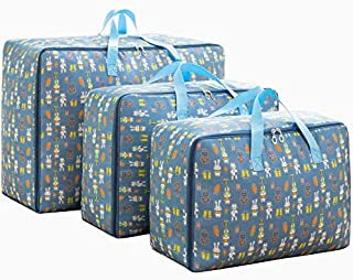 Oxford Large Clothes Organizer Storage Bags for Comforters and Blankets Clothing 3Pieces (Blue-Rabbit)