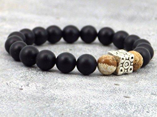 Pulsera azteca de hombre negro en cuentas de ágata, cuenta de jaspe y perla tibetana.